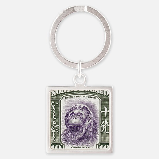 1939 North Borneo Orangutan Stamp Square Keychain