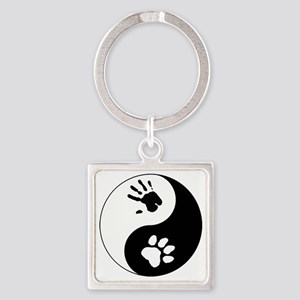 Big Cat Therian Ying Yang Square Keychain