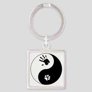 Cat Therian Ying Yang Square Keychain