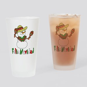 Feliz Navidad Snowman Drinking Glass