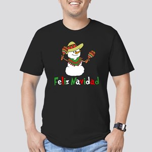 Feliz Navidad Snowman Men's Fitted T-Shirt (dark)