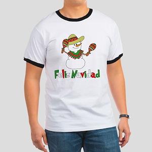 Feliz Navidad Snowman Ringer T