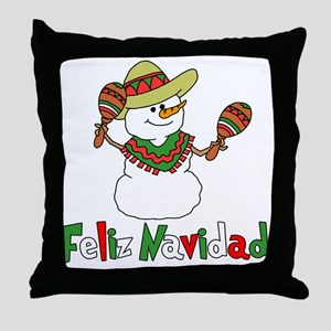 Feliz Navidad Snowman Throw Pillow