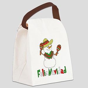 Feliz Navidad Snowman Canvas Lunch Bag