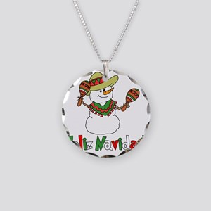 Feliz Navidad Snowman Necklace Circle Charm