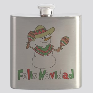 Feliz Navidad Snowman Flask