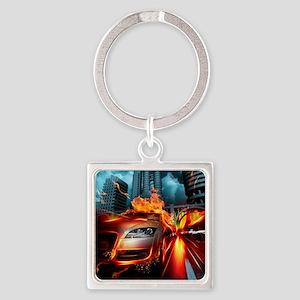 Night Rider Square Keychain
