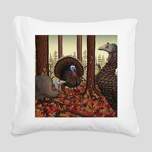 Wild Turkeys Square Canvas Pillow