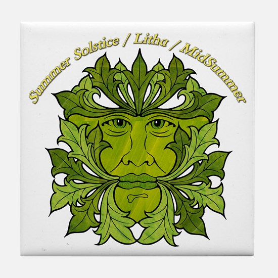 The Greenman of the Summer Solstice Tile Coaster