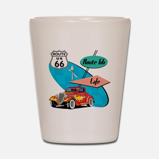 Red Hot Rod Route 66 Diner Shot Glass
