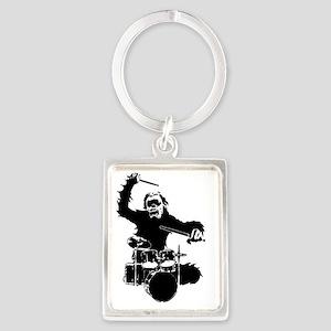 Drumming Gorilla Portrait Keychain