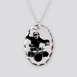 Drumming Gorilla Necklace Oval Charm
