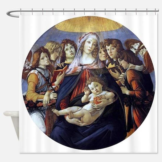 Madonna of the Pomegranate - Botticelli Shower Cur