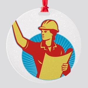 Female Engineer Construction Worker Round Ornament