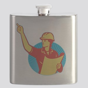 Female Engineer Construction Worker Pointing Flask