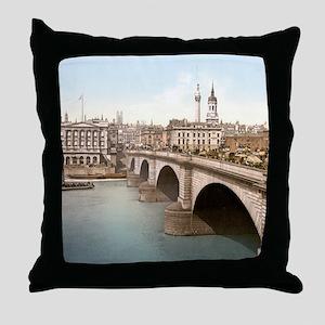 Vintage London Bridge Throw Pillow