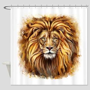 Artistic Lion Face Shower Curtain
