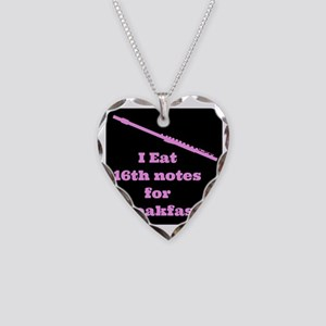 Flute I eat 16th notes for Br Necklace Heart Charm