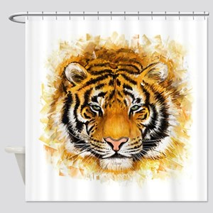 Artistic Tiger Face Shower Curtain
