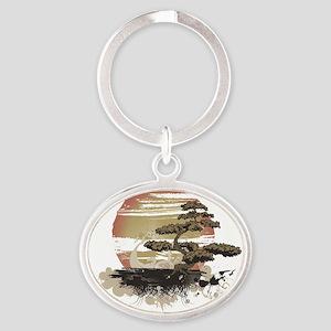 Bonsai Oval Keychain