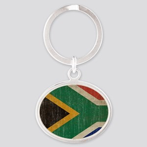 Vintage South Africa Flag Oval Keychain