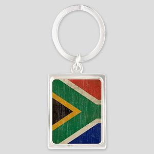 Vintage South Africa Flag Portrait Keychain