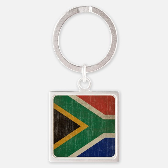 Vintage South Africa Flag Square Keychain