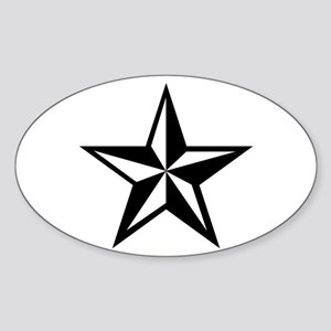 White Nautical Star Punk Rock Oval Sticker