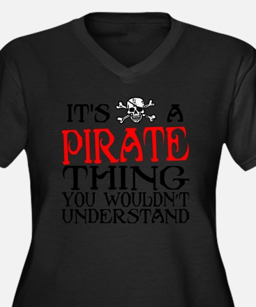 PIRATE_THING Women's Plus Size Dark V-Neck T-Shirt