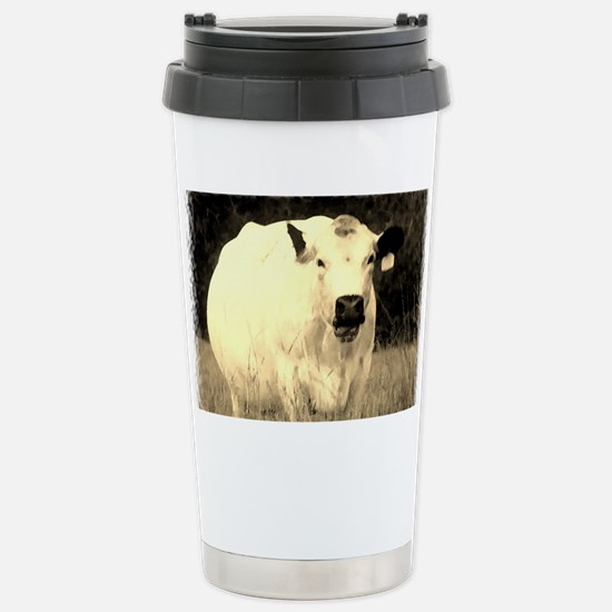 British White Cow - Sepia Color Stainless Steel Tr