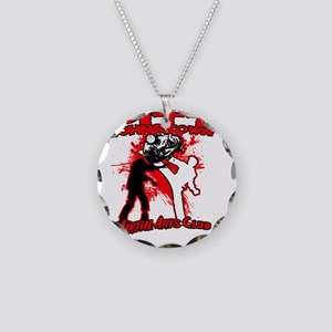 Red zombie fighting logo Necklace Circle Charm