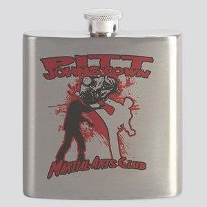Red zombie fighting logo Flask