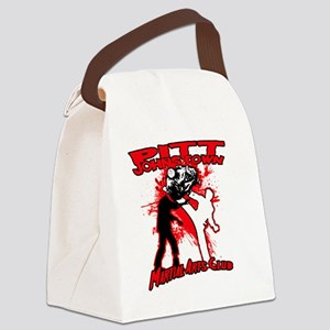 Red zombie fighting logo Canvas Lunch Bag