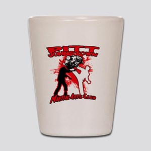 Red zombie fighting logo Shot Glass