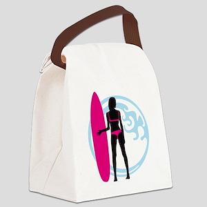surfer wave board star beach babe Canvas Lunch Bag