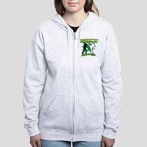 2012 Green zombie fighting logo Women's Zip Hoodie