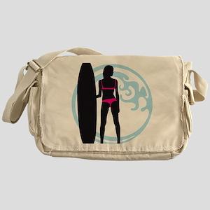 surfer wave board star beach babe se Messenger Bag