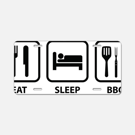 EatSleepBBQ2A Aluminum License Plate