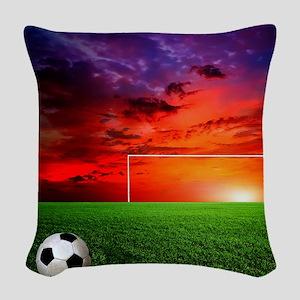 Soccer Sunset Woven Throw Pillow