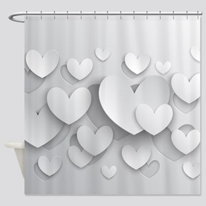 White Popup Hearts Shower Curtain