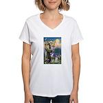 St Francis & Schnauzer (#5) Women's V-Neck T-Shirt