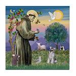 St Francis & Schnauzer (#5) Tile Coaster