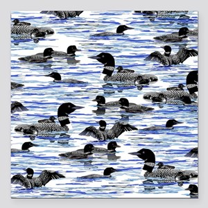 """lots of Loons! Square Car Magnet 3"""" x 3"""""""