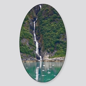 Glacier Waterfall Sticker (Oval)