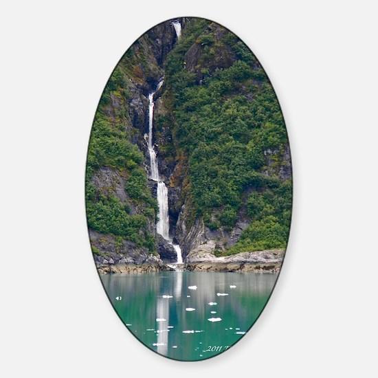 Glacier Waterfall Sticker (Oval)