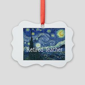 Retired TEacher Van Gogh Blanket Picture Ornament