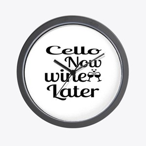 Cello Now Wine Later Wall Clock