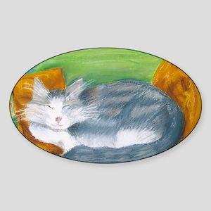 Funky Cat Sticker (Oval)