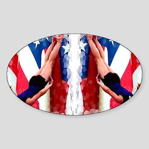 Trampoline Gymnast Sticker (Oval)