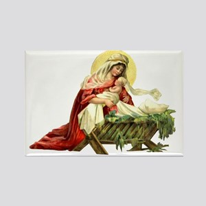 MARY AND JESUS IN THE MANGER Rectangle Magnet